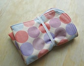 Pink purple blue circle pattern wipeable baby change mat cover. change mat cover. nappy wallet change mat
