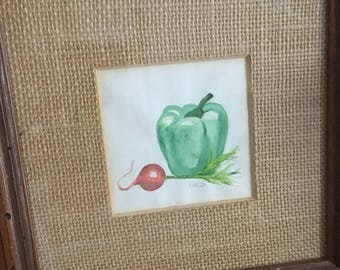 Vintage painting, kitchen art, vegetable painting