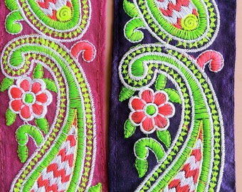 Blue / Pink Fabric Trim With Green, Pink And White Floral Embroidery, 68mm wide - 200317L510/11