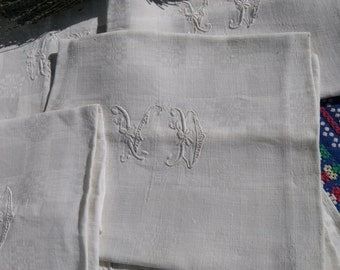 19th Large Damask Napkins Set of 7 Victorian White Linens French Handmade Double Monogram #SophieLadyDeParis