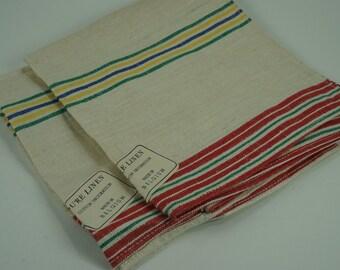Pure Linen Kitchen Towels, Belgium Linen, Vintage Kitchen Dish Towels, Kitchen Linen, Never Used, Tags On, Mid Century, 2 Towels, Free Ship