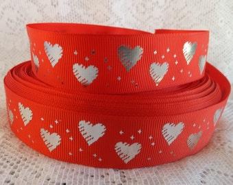 Red Hearts Ribbon Silver heart grosgrain ribbon 1 inch grosgrain heart ribbon Valentine ribbon