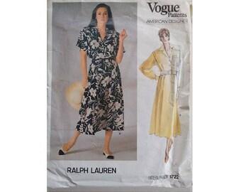 Vintage 80's Vogue 1722 American Designer Ralph Lauren Belted Shirt Dress Full Skirt Short Long Sleeve Options