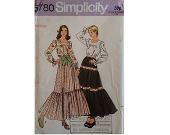 UNCUT Simplicity #5780 Gypsy Peasant Blouse and Tiered Ruffle Skirt Sewing Pattern Size Medium