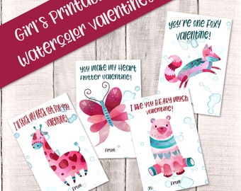 Girls Printable Watercolor Animal Valentines, DIY Valentines Day Cards, Kids  Valentine, Valentine Gift