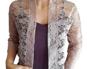 Cappuccino lace jacket with 3/4 sleeves in UK sizes 8 to 20