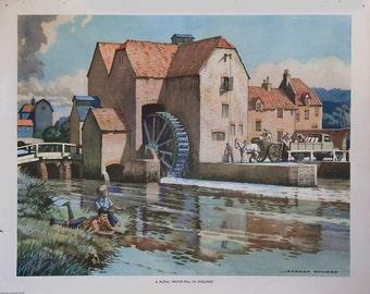Vintage Macmillan School Poster: Rural Water Mill