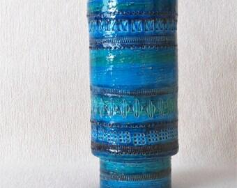 Vase BITOSSI Original 1950s design Aldo Londi Rimini Blue Italy Ceramic Model 711 Italian Art flower Vase handmade unique