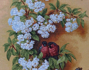 Russian tapestry , picture, textilart, home decoration, for wall, flowers, birds, sacura, white blossom