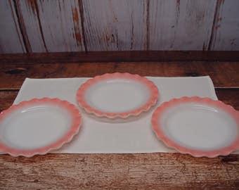 Set of 3 Hazel Atlas Pink Crinoline Dinner Plates, Petticoat, Ripple