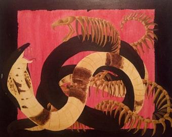 King Cobra Snake Acrylic Painting