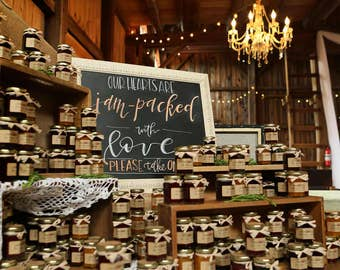 Jam Favors - Wedding Favors - Bridal Shower Favors - Rustic Wedding Favors - Personalized Favor - Thank You Favor - Spread the Love - Favors