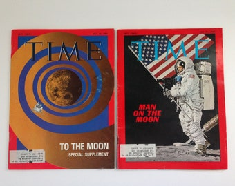 1969 Time Magazine Moon Landing Collection of 2 - July 18 and 25, 1969