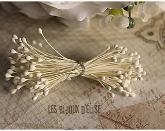 Sale - 2 lots of 144 pcs Stamen White Flower Stems of White Pearlized Millinery 2 inches (Bouquet004) 2 Bunches