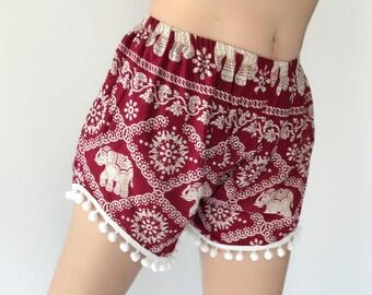 PP0001 Pom pom Shorts Elephant Print Beach Summer Hippies Boho Fashion Chic Clothing Aztec Ethnic Bohemian Ikat Boxers Short Pants Unique