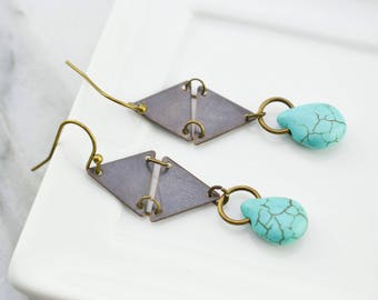 Earrings triangle - Earrings turquoise - Earrings geometric - boho - bohemian - ethnic - gift for her