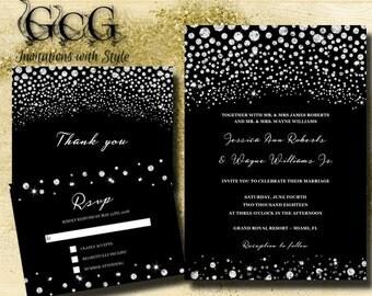 Printable SPARKLE Wedding Invitation Suite, Wedding Invitations, Diamond  Invitations, Black U0026 Silver Rhinestone