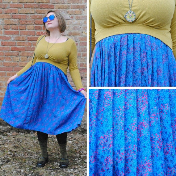 blue and pink speckle midi skirt
