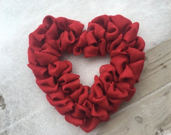 Heart Wreath, Heart Burlap Wreath, Valentine Wreath