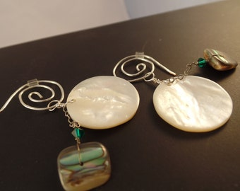 Abalone and Mother of Pearl Curly-Cue Earrings