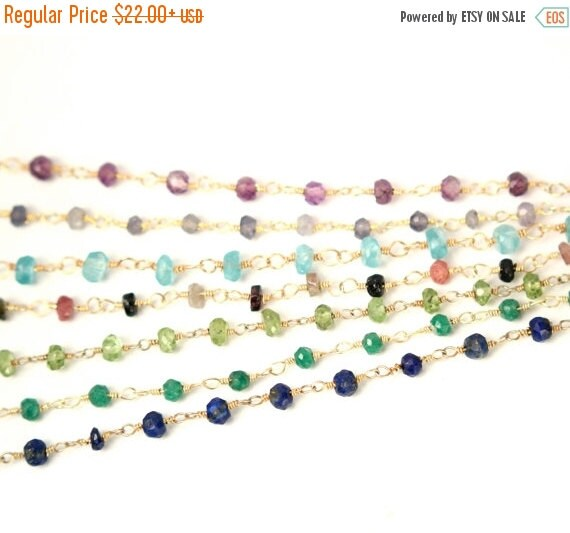 ON SALE - Gemstone chain necklace - lapis necklace - labradorite - watermelon tourmaline - a strand of genuine gemstones on a 14k gold verme