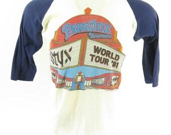 Vintage 80s Styx Band T-shirt Mens L 1981 World Tour Paradise Theater 50/50 Men [H54I_0-6]