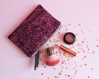 Cherry Blossom Pink Glitter Bag, Pink & Black Glitter Cosmetic Bag, Sparkly Pink Makeup Bag,