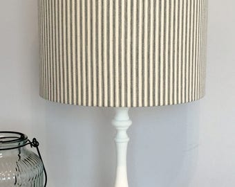 Lampshade in Charcoal Ticking fabric. Ceiling or Table lampshade.