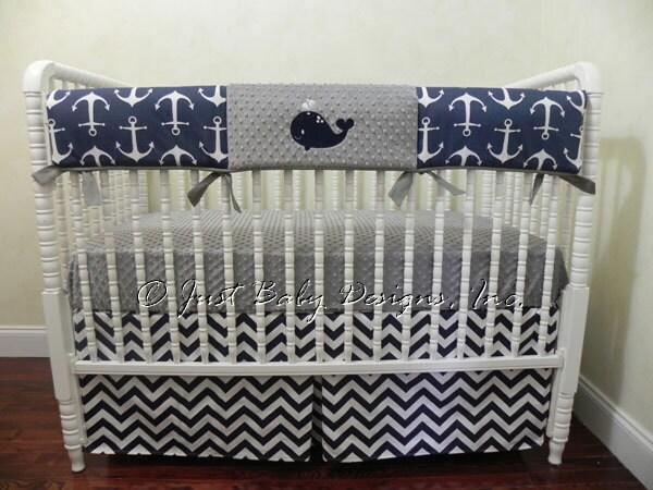 Nautical Crib Bedding Set Cappi Boy Baby Bedding Whale