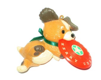 Vintage Hallmark Christmas Ornament Puppy Dog Frisbee Playing Catch Figure Figurine Decoration 1983 Merry Christmas