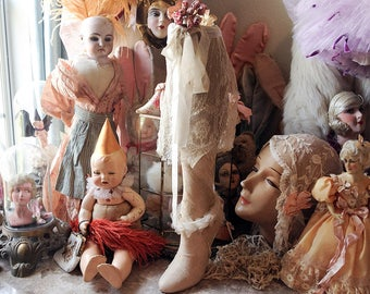 Vintage mannequin leg shabby display prop romantic decor antique lace quirky counter shop stocking display