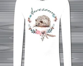 Hedgehog Awesome Kids Girl's long sleeve T-shirt  Girl Tee