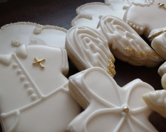 Heaven sent  baptism cookies, white and gold, baby shower, angel baby shower, christening cookies