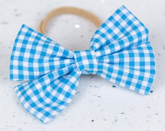 Sky Blue Gingham Bow & Bow tie