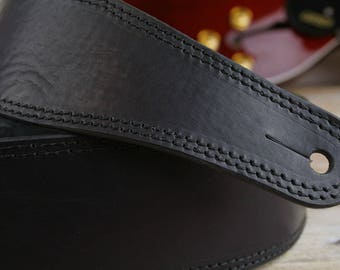 "GS41 Black Leather Guitar Strap, 60mm width, 2 1/4"" width, guitar belt, limited edition, present for guitarist, hand-made"