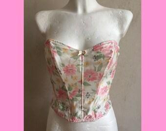 80s pastel flower corset size S/M