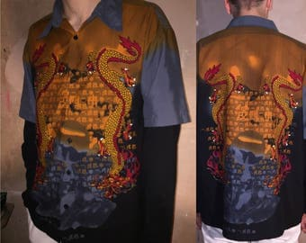 90s cyber asian shirt double sleeve printed shirt M/L