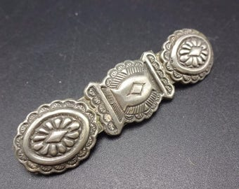 Signed Vintage NAVAJO Hand Stamped Sterling Silver HAIR PIN Clip