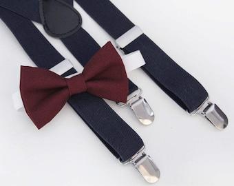 Deep Burgundy bow-tie & Navy elastic suspender set - Groomsmen bow tie and suspenders -Ring bearer bow tie and suspenders
