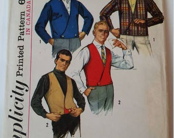 Vintage 1965 Butterick 6256 Sewing Pattern Men's Jacket and Reversible Vest in size 36