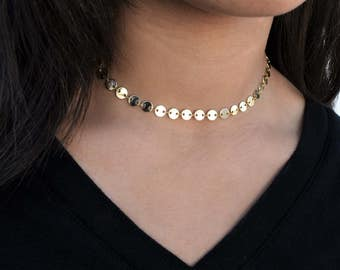 Gold Choker, Gold Jewelry, Gold Necklace, Everyday Wear