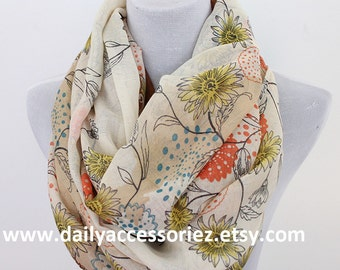 Floral Infinity Scarf, Daisy Print Scarf, Infinity Scarf, Christmas Gifts, For Her, For Girls, For Mom, Womens Scarves, Fashion Scarves