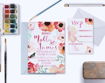 MOLLY INVITATION SUITE | Floral Watercolour wedding invitation | fully customizable | hand drawn fonts