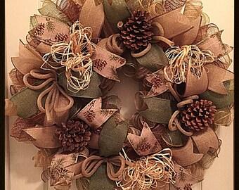 Cabin Pinecone Deco Mesh Wreath/Pinecone Wreath/Burlap and Green Cabin Wreath/Western Outdoor Wreath
