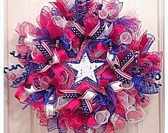 READYTOSHIP-Patriotic Deco Mesh Wreath/Labor Day Wreath/Red, White and Blue Deco Mesh Wreath/Summer Deco Mesh Wreath/American Flag Wreath