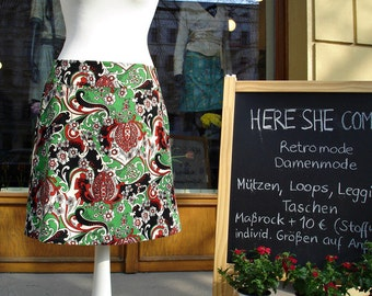 Fine corduroy skirt in the 70s retro pattern ladies skirt skirt cord 70 s retro women