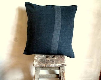 "Antique French chanvre hemp cushion, inky bluey charcoal grey, hand stitched, original darne, patch 50cm (20"") square, washed rough linen"