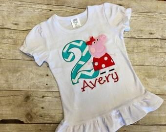 Peppa Pig Birthday Shirt/ Peppa Pig Shirt/ Peppa Pig Birthday Outfit/ Peppa Pig Birthday Dress/ Peppa Pig Party/ Peppa Pig Birthday