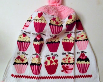 Cupcake Crochet Top Hanging Kitchen Towel with Decorative Bottom Trim