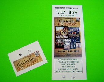 """200 Custom Printed Tickets - Event, Concert, Raffle, Drawing, Numbered with Perforated Stub - 2.75"""" x 8.5"""""""